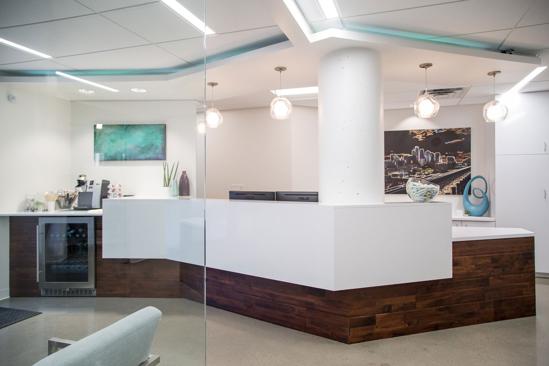 The interior of the Loop Dental office looks sleek and inviting for new dental patients.